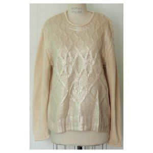 NARCISO RODRIGUEZ CREAM PALE GOLD FOIL SWEATER XL